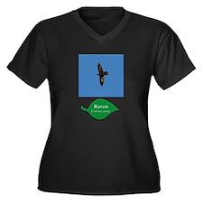 Raven in Flight Women's Plus Size V-Neck Dark T-Sh