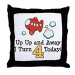 4th Birthday Airplane Throw Pillow