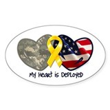 My Heart Is Deployed Oval Decal