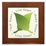 Live Green Think Green Framed Tile
