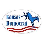 Kansas Democrat Oval Bumper Sticker