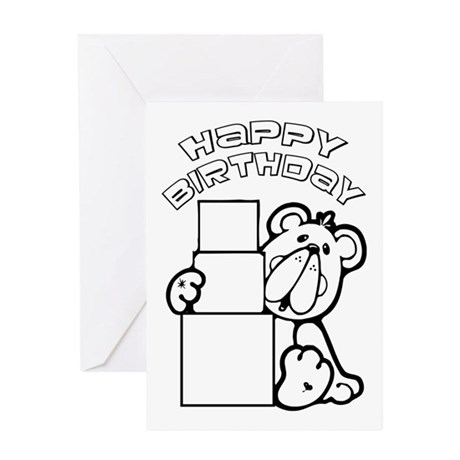 ... Animal Greeting Cards > Color Your Own Birthday Bea