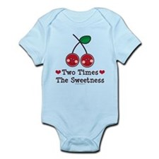 Doubly Sweet Cherry Pink Twin Onesie