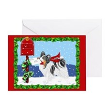 Christmas Papillon Mail Tri Greeting Card