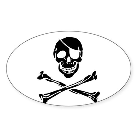 Skull Oval Sticker