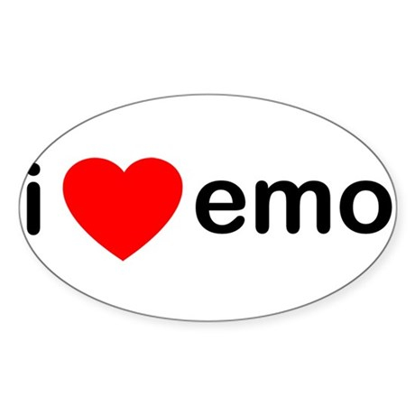 I Heart Emo Oval Sticker