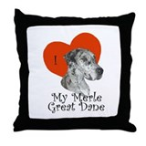 Luv My Merle Great Dane II Throw Pillow