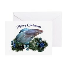 Christmas Blue Betta Greeting Cards (Pk of 10)