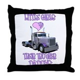 Little Girls Love Their Trucker Daddys Throw Pillo