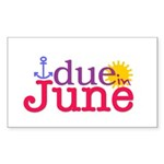 Due in June Rectangle Sticker