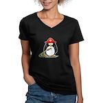 Fireman Penguin Women's V-Neck Dark T-Shirt