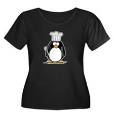 Chef Penguin Women's Plus Size Scoop Neck Dark T-S