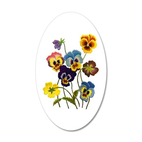 Colorful Embroidered Pansies Wall Sticker