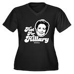 Hot for Hillary Women's Plus Size V-Neck Dark T-S