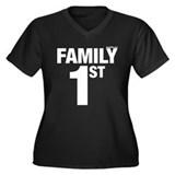 Family First Women's Plus Size V-Neck Dark T-Shirt