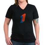 Candice '1' Women's V-Neck Dark T-Shirt