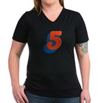 Candice '5' Women's V-Neck Dark T-Shirt