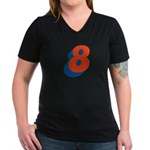 Candice '8' Women's V-Neck Dark T-Shirt