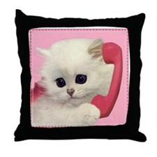 Phone Kitty Throw Pillow