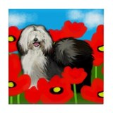 OLD ENGLISH SHEEPDOG POPPIES Tile Coaster