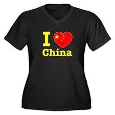 I love China Women's Plus Size V-Neck Dark T-Shirt