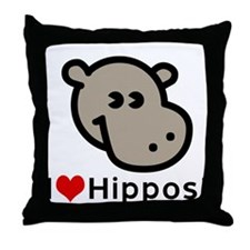 I Love Hippos Throw Pillow