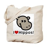 I Love Hippos Tote Bag