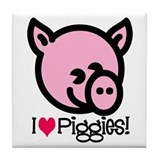I Love Piggies! Tile Coaster