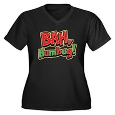 Bah Humbug Women's Plus Size V-Neck Dark T-Shirt