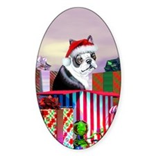 Boston Terrier Christmas Oval Decal