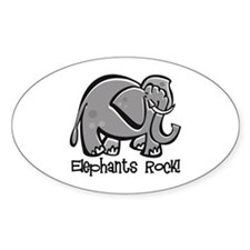 Elephants Rock! Oval Decal