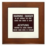 Warning Danger Achtung, Cold War Berlin Framed Til