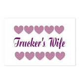 Truckers Wife With Hearts Postcards (Package of 8)