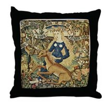 WildWomanWithUnicorn Throw Pillow