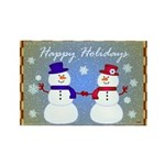 Snowman Couple Greetings Rectangle Magnet