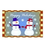 Snowman Couple Greetings Postcards (Package of 8)