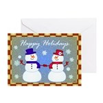 Snowman Couple Greetings Greeting Card