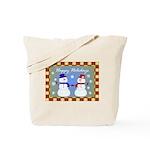 Snowman Couple Greetings Tote Bag