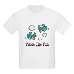 Fun Twin Boys Airplane Kids Light T-Shirt