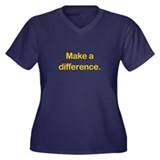 Make a Difference Women's Plus V-Neck Dark T-Shirt