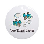 Cooler Twin Boys Airplane Ornament (Round)