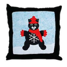 Snowflake Kitten Throw Pillow