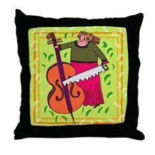 Funny String Bass Music Throw Pillow