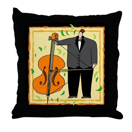 String Bass Music Throw Pillow