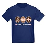 Peace Love New Orleans Kids Dark T-Shirt
