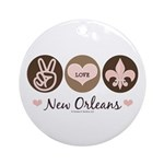 Peace Love New Orleans Ornament (Round)