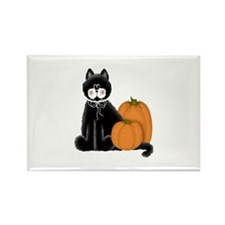 Black Cat and Pumpkins Rectangle Magnet