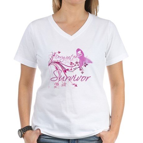 Pink Ribbon Survivor Women's V-Neck T-Shirt