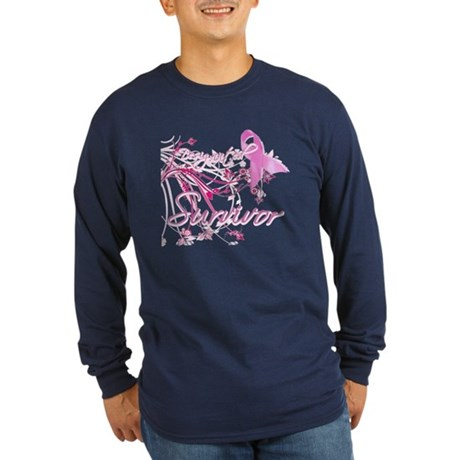 Pink Ribbon Survivor Long Sleeve Dark T-Shirt