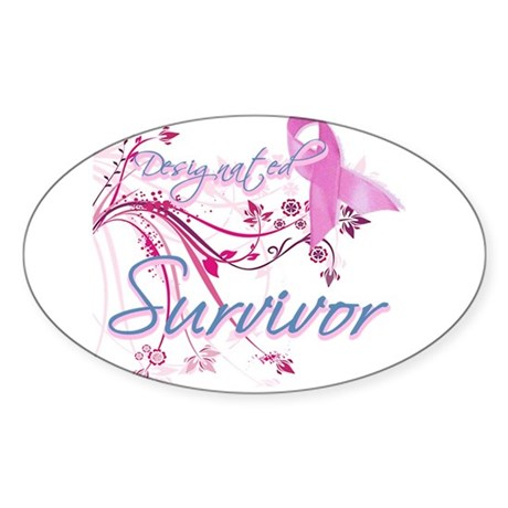 Pink Ribbon Survivor Oval Sticker